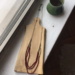 Beaded necklace maroon and gold